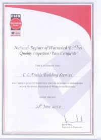 FMB Warranted Builders Inspection Certificate for Chris Dodds